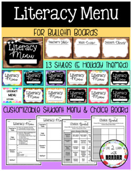 LITERACY MENU Bulletin Board Signs (+ Student Menu & Choice Board Template)