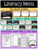 LITERACY MENU Bulletin Board Signs (+ Student Menu & Choice Board Template)