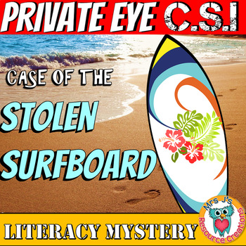 Literacy Mystery: Case of The Stolen Surfboard- Reading Comprehension Vocabulary