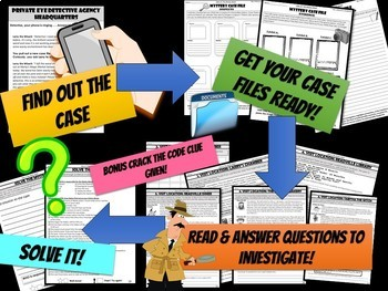 Literacy Mystery: Reading Comprehension, Making Inferences, Main Idea + more