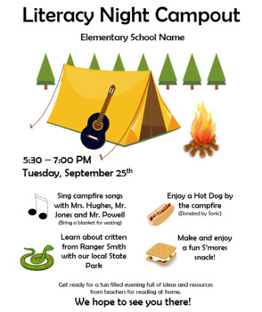 Literacy Night Campout Flyer