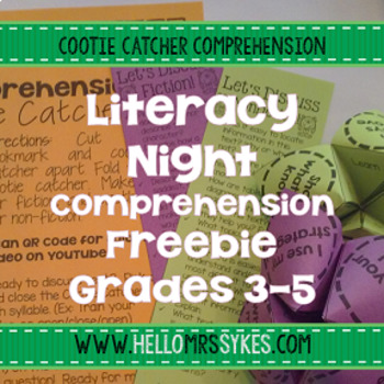 Free Literacy Night Grades 3-5 Comprehension Cootie Catchers