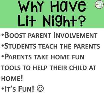 Literacy Open House Night Make and Take for Parent Involvement Literacy Stations