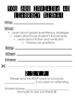 Literacy Night RSVP Form
