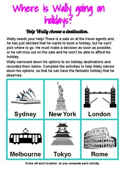 Literacy & Numeracy Problem Solving Grade 1-2: Where is Wally going on holidays?