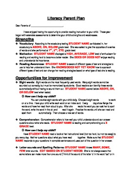 Literacy Parent Plan/ Reading Progress Report/Parent Letter
