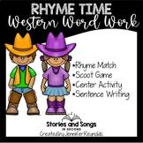 Word Work Rhyming Scoot--Western Vocabulary Activities