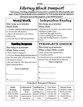 Literacy Passport Reading and Word Work Stations