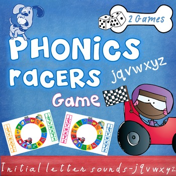 Literacy - Phonics Racers (jqvwxyz) Game - Beginning, init