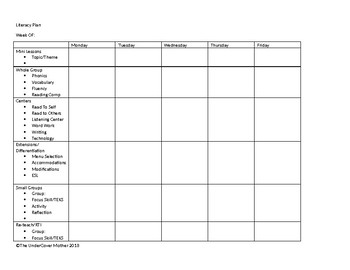 Literacy Plan Weekly at a Glance Guide
