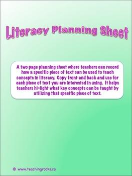 Literacy Planning Sheet: An Organizational Tool