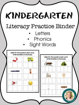 Kindergarten Literacy Practice Binder