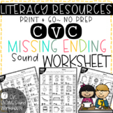 Literacy Printables: CVC Missing Ending Sound Worksheets