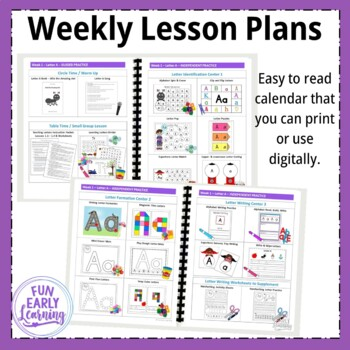 Complete Pre-K Literacy Program with Guided Lessons - Letters, Phonics, Writing