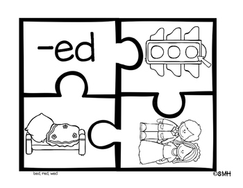 Literacy Puzzles (short e word family puzzles)