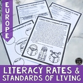 Literacy Rates & Standards of Living in Europe Reading Activity (SS6E9, SS6E9a)