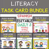 Literacy - Reading (EDITABLE) Task Card Bundle in SPANISH - Great for Daily 5