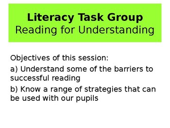 Literacy: Reading for understanding