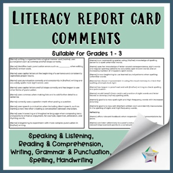 ENGLISH/ LITERACY REPORT CARD COMMENTS
