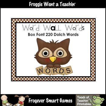 Literacy Resource  -- Box Font Combo Pack 220 Dolch Word Wall Words