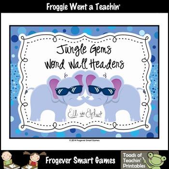 Literacy Resource--Jungle Gems Word Wall Headers Set I (Elephants Only)