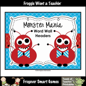Literacy Resource--Monster Mania Word Wall Headers (blue only)