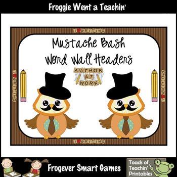 Literacy Resource--Mustache Bash Word Wall Headers Set II (brown)