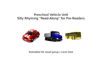 Literacy - Rhyming Read Along for Pre Readers - Vehicle Unit