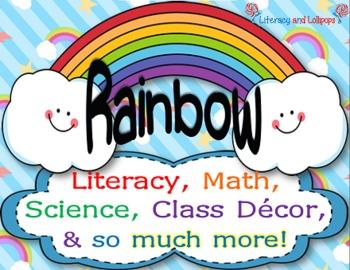 Literacy, Science, Math, and Class Decor (Rainbow Themed)