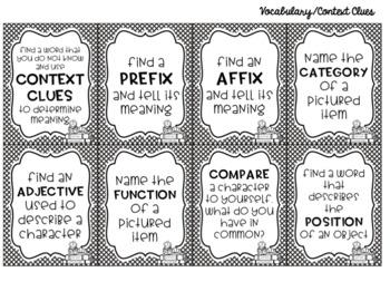Literacy Sensory Bin Task Cards for Any Book