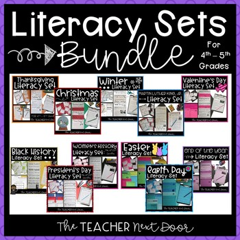 Literacy Sets Holiday Bundle   Holiday Themed Reading and Writing