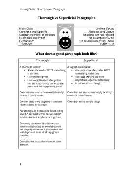 Literacy Skills: Paragraph Writing Package