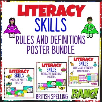 Literacy Skills Rules and Definitions Poster Bundle (NZ/AU/UK Spelling)