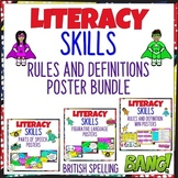 Literacy Skills Rules and Definitions Poster Bundle Britis