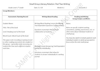 Literacy Small Group Lesson Planning Editable