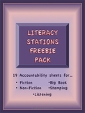 Literacy Station / Center Freebies Pack- 19 stations sheets for 5 stations