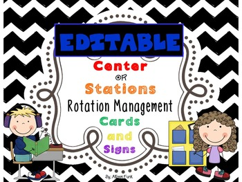 Editable Black & White Chevron Center or Station Rotation Management Cards/signs