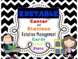 Editable Black & White Chevron Center or Station Rotation