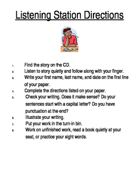 Literacy Station Directions Editable