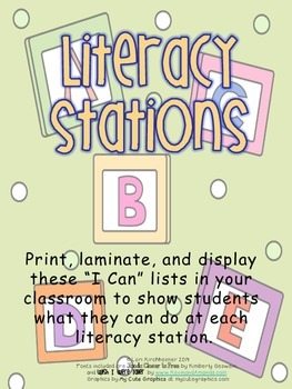 Literacy Station I Can Lists