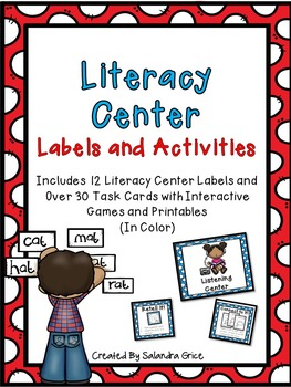 Literacy Center Labels and Activities