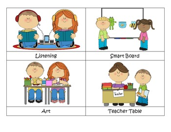 Literacy Station Labels including Math, Science and Social Studies
