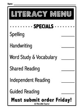 Literacy Station Menu