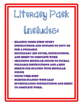 Literacy Station Packet 1
