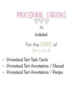 Literacy Station: Procedural Texts