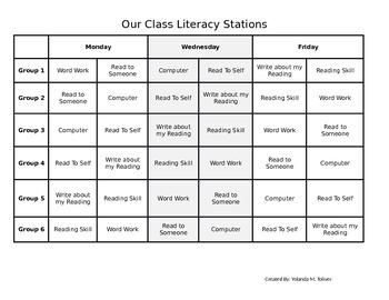 Literacy Station Rotation Chart