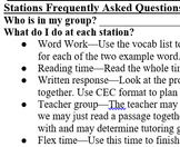 Literacy Station Schedule for Middle School