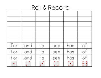 Literacy Station Sight Word Fun!  Roll and Record