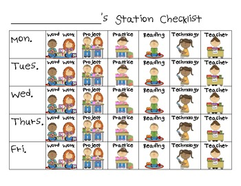 Literacy Station Signs and Checklist
