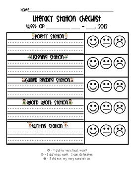 Literacy Station Student Checklist